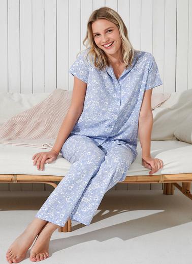Penti Leofloral Gömlek Pantolon Takımı  Kadın  Pijama Takımı  Ana Kumaş Vıscose 100,00 Ana Kumaş Vıscose 100,00   Mavi